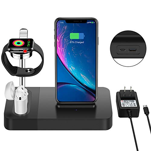 Wireless Charger Stand Holder, Aluminum Watch Stand 3in1 Charging Dock Station Compatible iPhone X/XS Max/8Plus/Samsung Galaxy S9 Plus, Compatible Apple Watch/Airpods (Include 5V/2A Adapter)