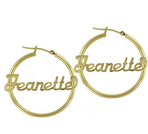 Amazon Com Personalized Hoop Earrings Name Plate Earrings Handmade