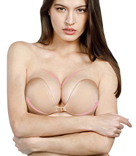 Muryobao Women Self Adhesive Strapless Bra Sticky Silicone Backless Push up Bra Wedding Dresses Bra with Nipple Covers Beige A Cup