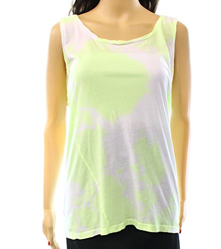 Sundry Yellow Women's Tie-Dye Scoop Neck Tank Top White 2
