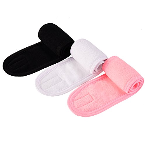 eBoot Spa Make up Headband Terry Cloth Headband Stretch Yoga Sport Headband Shower Headband, 3 Pieces (Multicolor)