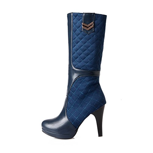 AgooLar Women's Round Closed Toe Mid-top High-Heels Solid Blend Materials Boots Blue LyyE3vxux
