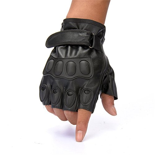 HI JANE Mens Black Faux leather Fingerless Gloves for Military Motorcycle Riding