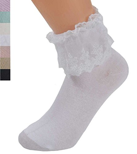 2 Pairs SYAYA Women Lace Ruffle Frilly Ankle Socks One Size (Pure (White Lace Anklet)