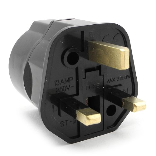 iSaddle ST-5 Travel Plug Adapters Power Adapter Converter Plug British Standard 250V 13A With Fuse EU TO UK Travel Adaptor converting European Schuko to Standard UK UK 3-Pin to Europe 2-Pin Earthere ST-5B
