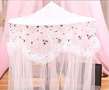 RuiHome Twin Full Queen Bed Hanging Mosquito Net Dome Lace Canopy with Hooked Screw White Netting