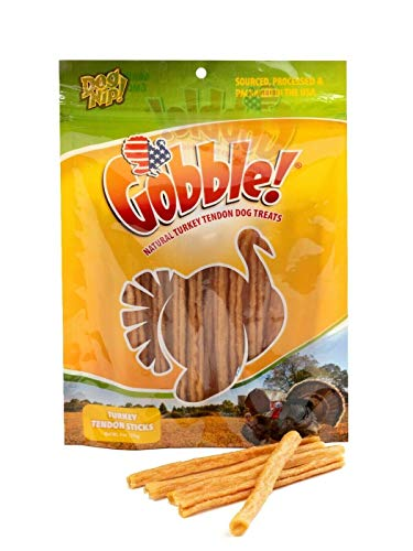 Gobble! 6-Inch Turkey Tendon for Dogs, Made in USA, 6 oz. (170g) Reseal Value Bags, All-Natural Hypoallergenic Dog Chew Treat  Sourced, Processed & Packaged in The USA   (Sticks (22-25 Pieces))