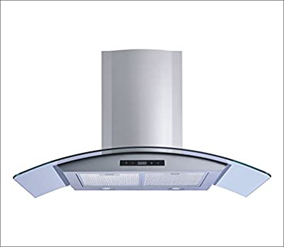 "Winflo 36"" Wall Mount Stainless Steel/Tempered Glass Convertible Kitchen Range Hood with 450 CFM Air Flow, Touch Control, Aluminum Filters and LED Lights"