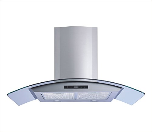Winflo 30'' Wall Mount Stainless Steel/Tempered Glass Convertible Kitchen Range Hood with 450 CFM Air Flow LED Display Touch Control, Aluminum Filters and LED Lights by Winflo