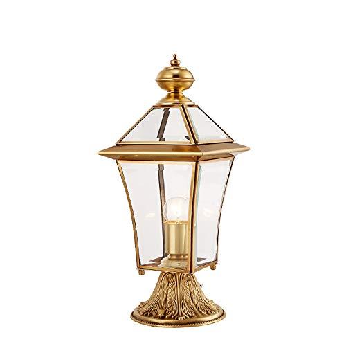 (Hines European Copper Brass Column Lamp Victoria Glass Lantern Outdoor Table Lamp Waterproof Pillar Lawn Garden Lamp E27 Decoration Villa Landscape Grass Door Street Post Light Fixture )