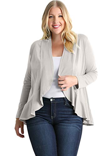 Plus Size Cardigans for Women Grey Lightweight Jersey Cardigan Plus Size Sweater Long Sleeve with Ruffle (Size 3X US 20-22, Grey)