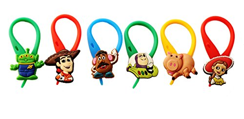 AVIRGO 6 pcs Colorful Soft Zipper Pull Charms for Backpack Bag Pendant Set # 108-4 (Slinky Dog Toy Story Costume)