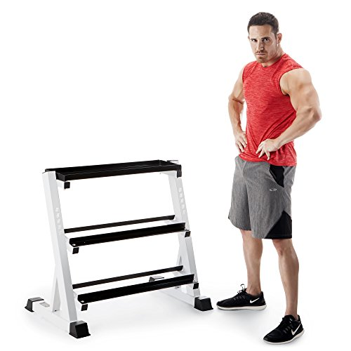 Powder Coated Metal Stand - Marcy 3 Tier Metal Steel Home Workout Gym Dumbbell Weight Rack Storage Stand