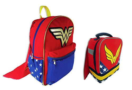 DC Comics Wonder Woman Two Piece Bundle Set with Sequin Backpack with Detachable Cape and Lunch Box with Cape
