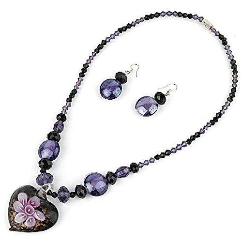 Heart Pendant Murano Glass Necklace with Matching Murano Glass Beads Earrings Set (PURPLE) (Purple Murano Pendant Heart)