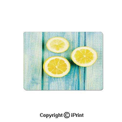 Gaming Mouse Pad Custom,Juicy Lemon Slices on Old Wooden Planks Porch Summer Refreshing Image Mouse Mat,Non-Slip Rubber Base Mousepad,7.9x9.5 inch,Yellow Sky Blue