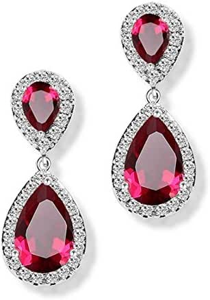 Hanie Ruby Color Drop Earrings Red Pear Round Crystal Silver Tone Teardrop Dangle