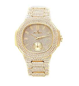 Amazon Com Bust Down Ap Watch Iced Out Cz Diamonds Gold
