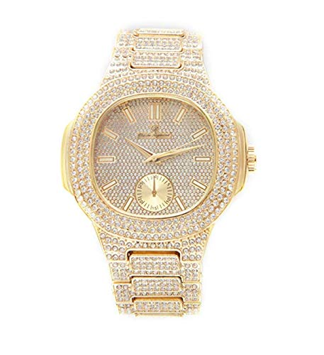 Bust Down AP Watch. Iced Out CZ Diamonds Gold Color Silver AP Hip Hop Watch Jewelry. Rapper Bling Rollie Skelton (Gold)