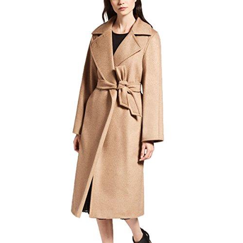 Femmes Mesdames Mode Lache Manteau De Laine Manteau Col Couleur Unie Coupe-Vent en Laine Plus Long Temprament Manteau d'hiver Camel