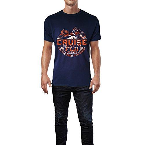 SINUS ART® Sunshine Cruise Fiji Islands Retro Vintage Herren T-Shirts in Navy Blau Fun Shirt mit tollen Aufdruck