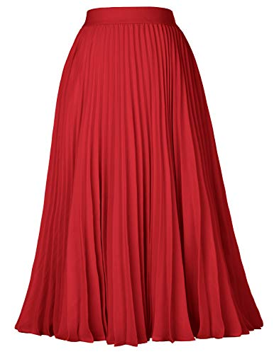 Plus Size Pleated Midi Skirt Cocktail Evening Party Red Size 2XL KK659-4 -