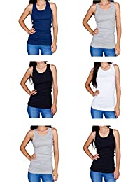 Tank Tops for Women 5-Pack Ribbed Racerback Wife Beaters