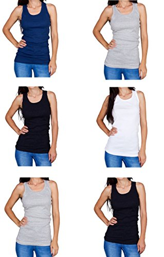 Emprella Tank Tops For Women Racerback Tanks Pack Of 5 Assorted Colors (Medium, Assorted 1)