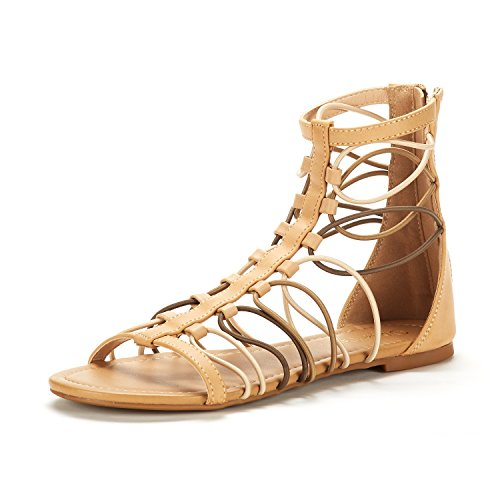 DREAM PAIRS Women's Roman_03 Nude/Multi Fashion Gladiator Design Ankle Strap Flat Sandals Size 8.5 M US
