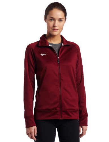 Speedo Womens Female Sonic Warm-Up Jacket, Deep Maroon, Medium