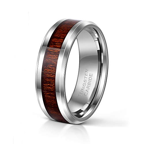 - 8mm Tungsten Ring with Wood Inlay for Men Vintage Wooden Wedding Band Size 8.5