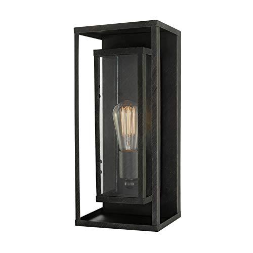 Medium Outdoor Bronze Wall - Globe Electric 44228 Montague 1-Light Outdoor Wall Sconce, Bronze, Clear Glass Shade