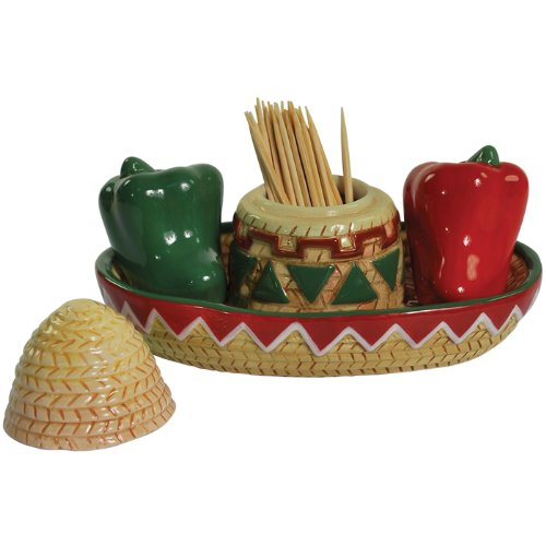 Westland Giftware Mwah! Fiesta 3-Inch Magnetic Toothpick and Salt and Pepper Set