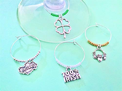 (Ireland themed Wine Charms for the Irish and Ireland lover in your life, St. Patricks Day gift. Includes Shamrock, Ireland, 100% Irish, and Claddagh Irish Hands. Set of 4. MULTI-COLOR)