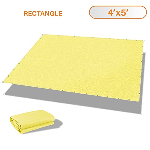 Sunshades Depot 4 x 5 Straight Side Sun Shade Sail 180 GSM Canary Yellow Patio Rectangle Shade Fabric UV Shelter Pergola Cover for Outdoor Backyard Deck – 3 Year Warranty