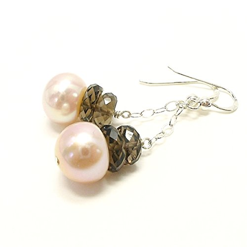 Cultured Freshwater Pearl and Smoky Quartz Dangle Sterling Silver Earrings