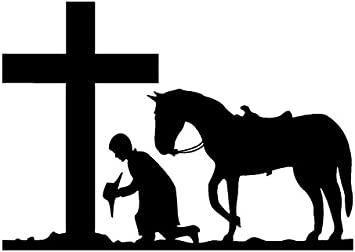 PRAYING COWBOY WITH CROSS AND HORSE VINYL CAR STICKER