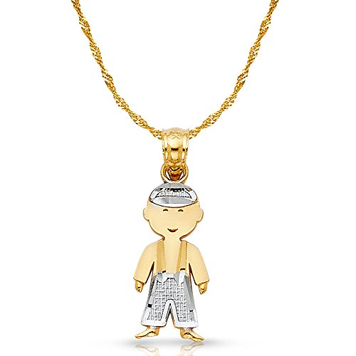 - 14K Two Tone Gold Toddler Boy Charm Pendant with 0.9mm Singapore Chain Necklace - 18