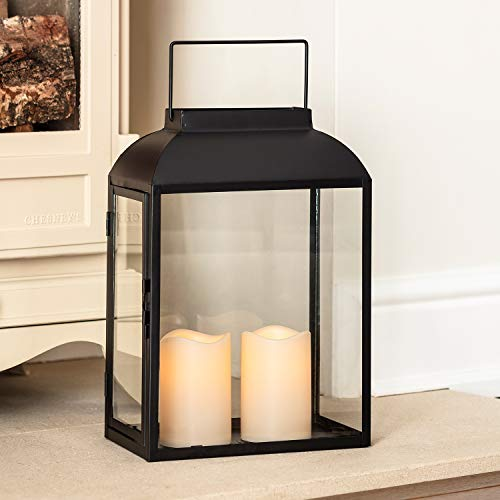 Lights4fun Large Black Metal Battery Operated LED Flameless Candle Lantern for Indoor Outdoor Use ()