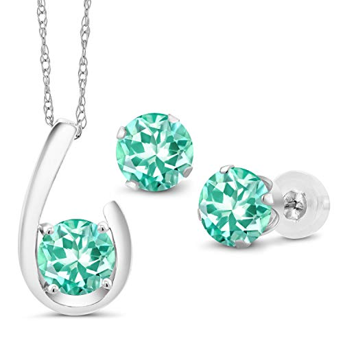 Gem Stone King 2.45 Ct Round Blue Apatite 10K White Gold Pendant Earrings Set With Chain