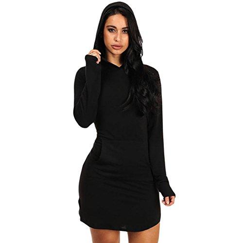 Price comparison product image BENNINGCO Women's Long Sleeve Hooded Cotton Mini Dress(Black, L)