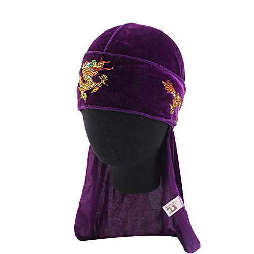 Unisex Velvet Durag Dragon Embroidery Turban Cap Extra Long-Tail Pirate Hat Hip hop Headwraps Headwear for Men Women,Purple