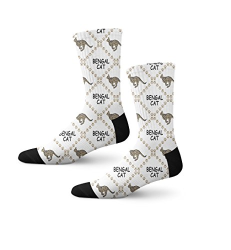 Bengal Cat Paws Novelty Cuff Crew Men Women Socks Large
