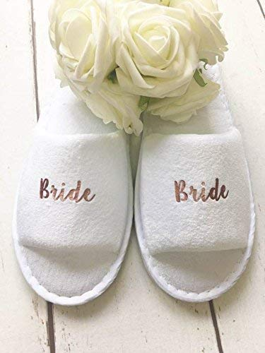 6b875cb3e5c Rose Gold Wedding Slippers For Bridal Party Bride Bridesmaid Hen ...