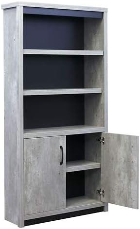 Urban 72″H Five Shelf Bookcase Concrete