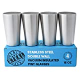 100% Stainless Steel Pint Glasses: Double Wall Vacuum Insulated Metal Cups to Keep Drinks Cold or Hot - Rimless, Sweat Free, Eco Friendly for Beer, Cocktails, Coffee, Smoothies & More, Set of 4, 16 oz