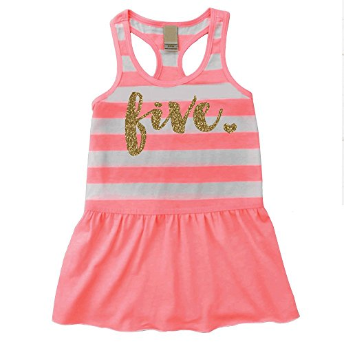 Fifth Birthday Outfit Girl Five Year Old 5th Birthday Summer Tank Dress (5T)