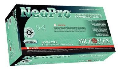 Microflex NPG-888-L Neopro Exam Gloves, PF Chloroprene, Latex-Free, Textured Fingers, Green, Large, 100 per Box, 10 Box per Case (Pack of 1000)