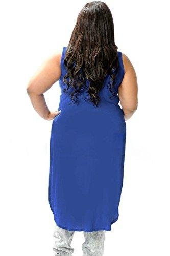 New Ladies Azul Plus tamaño Twist Front Top Camiseta Con Cola de Club Wear Tops Casual Wear ropa tamaño 2X L Uk 14–�?6