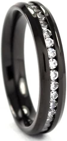 4mm Black Titanium Band, Titanium Rings, Titanium Bands For Women